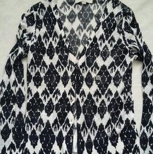 Ann Taylor LOFT tapestry geo argyle knit cardigan